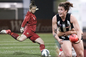 Brianna Davey playing for the Matildas in 2013 (left) and wearing the Collingwood colours.
