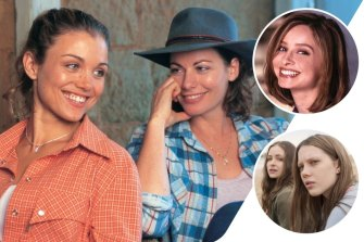 Clockwise from main: Bridie Carter and Lisa Chappell in MacLeod's Daughters, Calista Flockhart in Ally McBeal and Puberty Blues.