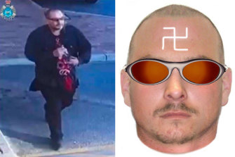 Police are searching for a man who hurled racist abuse at a mother and her daughter in Gosnells on Saturday, February 20. He had a swastika painted back-to-front on his forehead.
