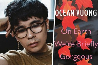 Author Ocean Vuong and his book On Earth We're Briefly Gorgeous.