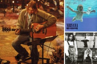 Clockwise from main: Cobain performs with Nirvana at a taping of MTV Unplugged in New York in November 1993; the cover of Nevermind; Dave Grohl, Krist Noveselic and Cobain.