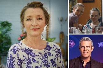 Clockwise from main: Lesley Manville in Mum, Shira Haas in Asia and Andy Cohen.