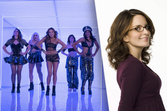 Girls5eva (from left): Sara Bareilles as Dawn, Busy Philipps as Summer, Ashley Park as Ashley, Erika Henningsen as Young Gloria and Renee Elise Goldsberry as Wickie Right: executive producer Tina Fey.