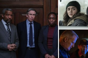 Clockwise from main: Conviction: The Case of Stephen Lawrence, Maisie Williams in Two Weeks to Live and Jeff Daniels in American Rust.