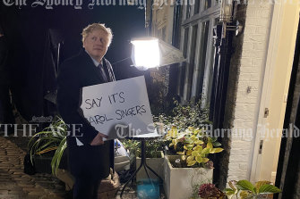 The moment Boris Johnson prepared to film a parody of a Love Actually scene was captured in this exclusive behind-the-scenes photograph by Jonny Piper obtained by The Sydney Morning Herald and The Age.