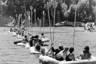 Demonstrators line up their rubber rafts across the Gordon River near the proposed Franklin River dam site.