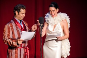 Paul F.Tompkins and Paige Brewster as Frank and Sadie in The Thrilling Adventure Hour.
