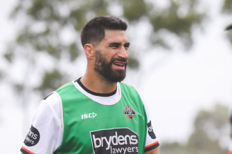 James Tamou has started at the Wests Tigers three weeks early.