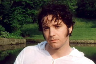 Colin Firth gets his shirt wet in the best-remembered scene from the television adaptation of Pride and Prejudice.