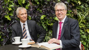 Ramsay Centre chief executive Simon Haines and University of Wollongong vice-chancellor Professor Paul Wellings.