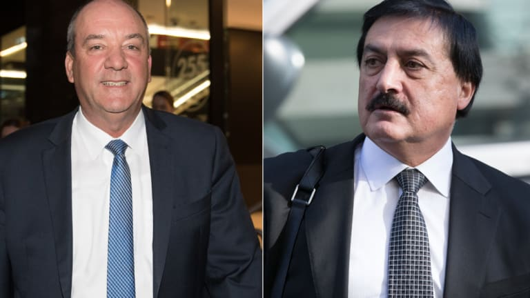 Former state Liberal MP for Wagga Wagga Daryl Maguire, left, and Sydney developer Charlie Demian outside the Independent Commission Against Corruption.