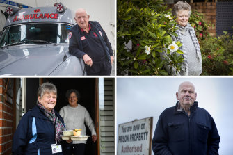Queen's Birthday Honours community recipients (clockwise from top left): Long-time ambo Chas Martin, children's cancer nurse Mary McGowan, Meals on Wheels volunteer Adele Allen, and prison visitor Nevil Knell.