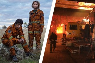 Hunter Page-Lochard and Eliza Scanlen play volunteer firefighters Mott and Tash in Fires; the Dreamscreen in action.