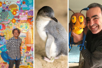 From left: NGV Art Club with Bundit Puangthong; penguins at the Phillip Island Nature Parks; author, illustrator and former zoologist Andrew Plant hosts Children's Storytelling Workshop.