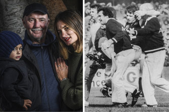 Ken Hunter with his daughter Mattia and grandson Julius; and carried off the ground in the 1982 grand final.