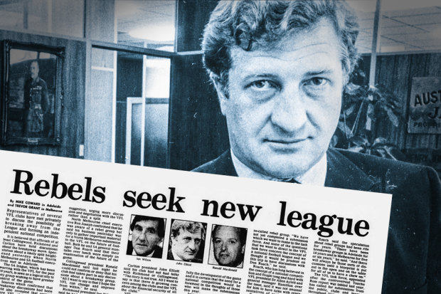 John Elliott in 1985, a year after he planned to start a breakaway football competition (inset).