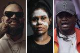 Hip-hop artists Briggs, Chloe Quayle (aka Barkaa) and Baker Boy.