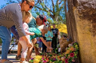 Pinjarra residents lay wreaths during the Shire of Murray's annual commemoration of the massacre.
