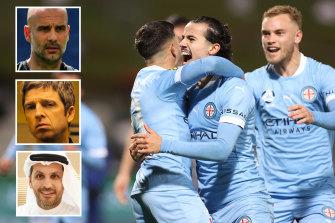 Melbourne City and .... Pep Guardiola, Noel Gallagher and Khaldoon Al Mubarak.