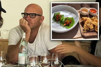 Matt Moran at Samphire Rottnest's Lontara restaurant, (inset) Will Meyrick's betel leaf entree.