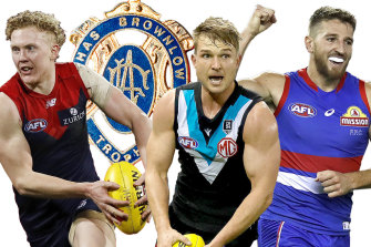 The leading Brownlow contenders: Melbourne's Clayton Oliver, Port Adelaide's Ollie Wines and Bulldog Marcus Bontempelli.