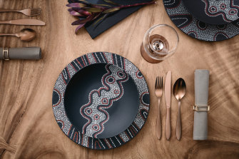 Villeroy & Boch tableware rom the Rock Desert range 'inspired by Aboriginal art'.