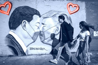 In Berlin, graffiti shows masked presidents Xi Jinping and Donald Trump, who are now locked in a war of words over the outbreak.