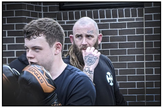 Jarrad 'Jaz' Searby at fight training at Racism HQ.