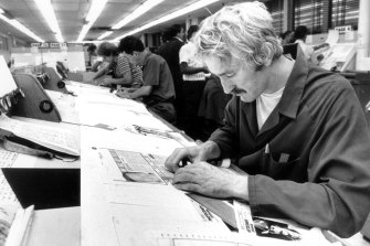 The paste-up area of the composing room at the Herald Broadway offices in Jones Street, Ultimo in 1984.
