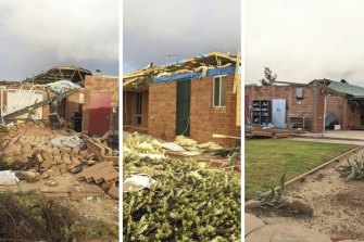 A couple's house in Kalbarri damaged by Tropical Cyclone Seroja.