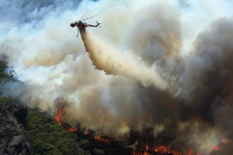 A water bomber at work in the Grampians in 2014.