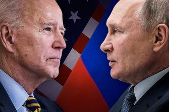 Russia's President Vladimir Putin, right, has responded to an array of sanctions imposed on Moscow by Joe Biden's administration.