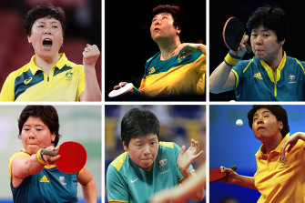 Australian tennis table athlete Jian Fang Lay plays in six Olympics - from top left: Tokyo, Rio 2016, London 2012, Beijing 2008, Athens 2004 and Sydney 2000.