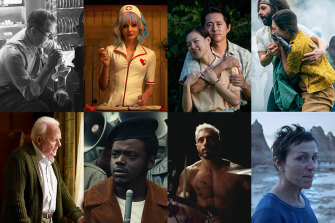 The 2021 best picture nominees (clockwise, from top left): Mank, Promising Young Woman, Minari, The Trial of the Chicago 7, Nomadland, Sound of Metal, Judas and the Black Messiah, The Father.