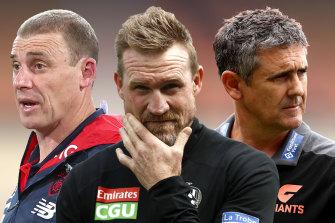 Under the pump: Simon Goodwin, Nathan Buckley and Leon Cameron.