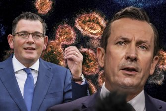 Victorian Premier Daniel Andrews and Western Australian Premier Mark McGowan. Mr McGowan has just announced the hard border with Victoria will remain in place until at least Wednesday night.