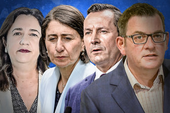 Queensland Premier Annastacia Palaszczuk, NSW Premier Gladys Berejiklian, WA Premier Mark McGowan and Victorian Premier Daniel Andrews have been reluctant to donate vaccines to other states.