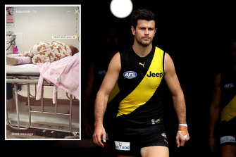 Trent Cotchin may have to return home to be with his sick daughter (inset).
