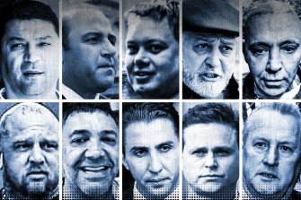 Banned from Crown casino since 2004 (left to right and top to bottom): Horty Mokbel, Tony Mokbel, Carl Williams, Mick Gatto, Toby Mitchell, Mick Murray, Jay Malkoun, Rocco Arico, Danny Nikolic and Antonio Madafferi.