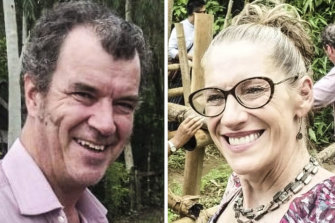 Matt O'Kane and Christa Avery, two Australians blocked from leaving Myanmar.