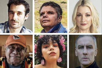 Clockwise from top left: Felix Riebl, Deborah Cheetham, Kate Miller-Heidke, Robert Forster, Kee'ahn and Archie Roach.