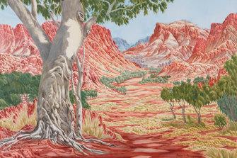 Hubert Pareroultja's Wynne-winning artwork, Tjoritja (West MacDonnell Ranges, NT). Acrylic on canvas, 183 x 244 x 4 cm. © the artist.