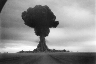 The first Soviet atomic bomb detonated  12 years earlier in 1949.