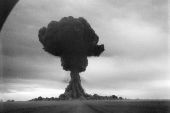 The blast at the  Semipalatinsk Test Site.