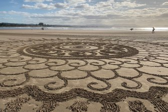The mandala at Byron Bay to commemorate the second anniversary of the disappearance of backpacker Theo Hayez.