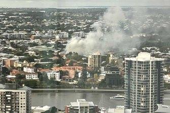 Smoke rises from inner-Brisbane suburb New Farm on Wednesday.