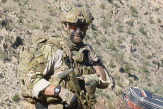 Former SAS medic Dusty Miller in camouflage in Afghanistan.