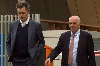 Peta Hickey's partner Richard, on left, outside the Coroner's Court on Thursday.
