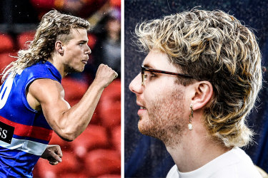 Composite image of Bailey Smith of the Western Bulldogs and unnamed person with mullet