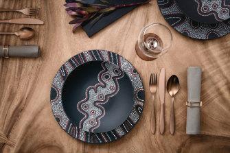 Villeroy & Boch tableware rom the Rock Desert range 'inspired by Aboriginal art'.